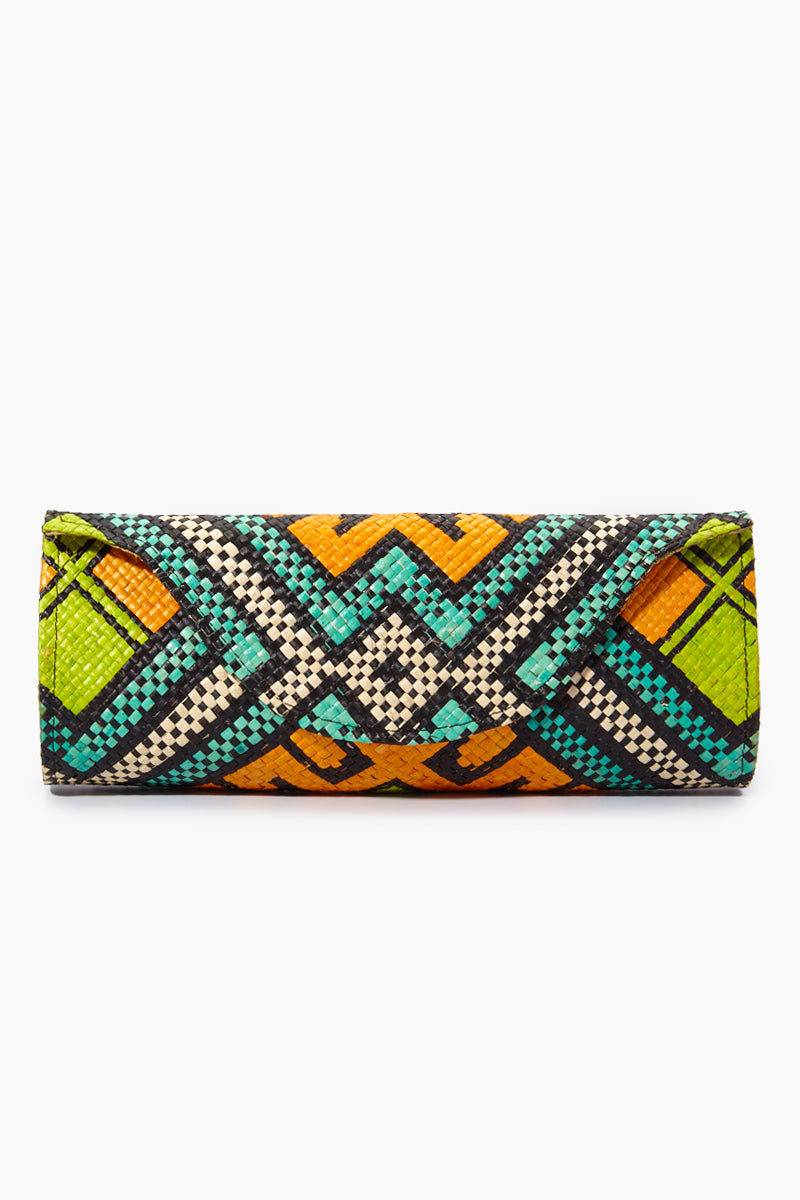 BANAGO Mayumi Clutch - Pintados Solemar Bag | | Banago Mayumi Clutch - Pintados Solemar Front View Palm Leaf Clutch Embroidered Pattern  Magnetic Snap Closure Unlined Made in Philippines  90% Wild Grass, 10% Palm Leaf