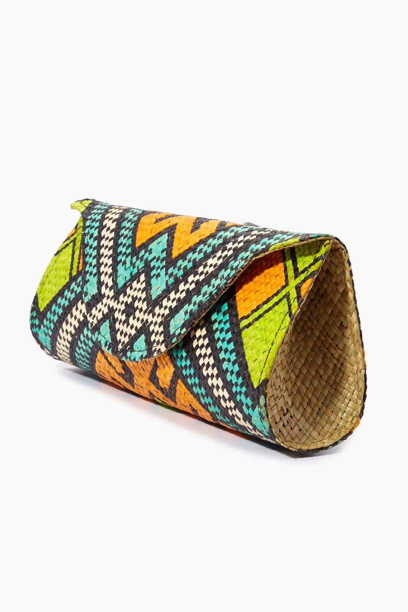 BANAGO Mayumi Clutch - Pintados Solemar Bag | | Banago Mayumi Clutch - Pintados Solemar Side View Palm Leaf Clutch Embroidered Pattern  Magnetic Snap Closure Unlined Made in Philippines  90% Wild Grass, 10% Palm Leaf