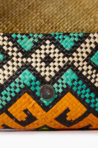 BANAGO Mayumi Clutch - Pintados Solemar Bag | | Banago Mayumi Clutch - Pintados Solemar Open Close Up View Palm Leaf Clutch Embroidered Pattern  Magnetic Snap Closure Unlined Made in Philippines  90% Wild Grass, 10% Palm Leaf