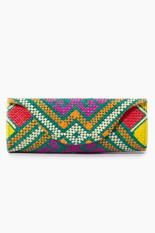 BANAGO Mayumi Clutch - Pintados Green Vintage Bag | | Banago Mayumi Clutch - Pintados Green Vintage Front View Palm Leaf Clutch Embroidered Pattern  Magnetic Snap Closure Unlined Made in the Philippines  90% Wild Grass, 10% Palm Leaf