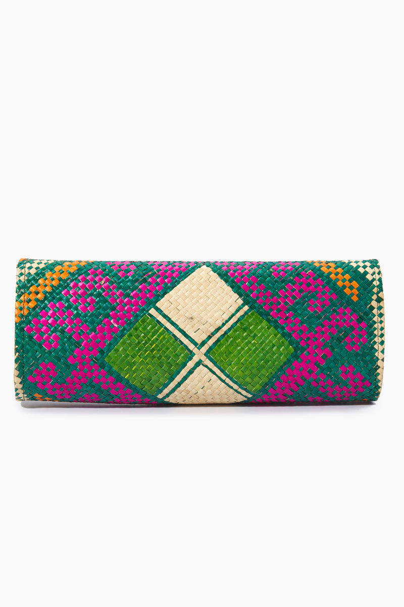 BANAGO Mayumi Clutch - Pintados Green Vintage Bag | | Banago Mayumi Clutch - Pintados Green Vintage Back View Palm Leaf Clutch Embroidered Pattern  Magnetic Snap Closure Unlined Made in the Philippines  90% Wild Grass, 10% Palm Leaf