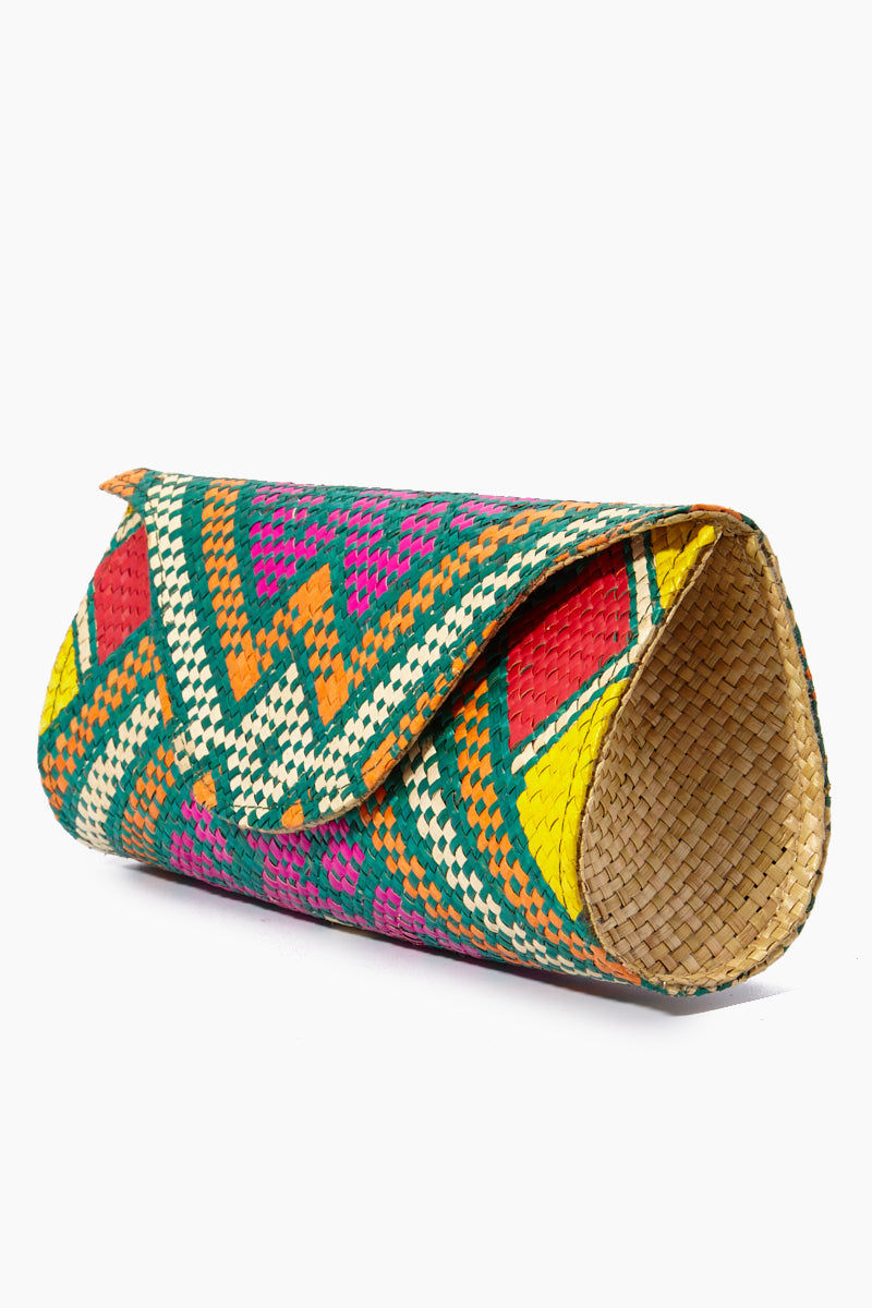 BANAGO Mayumi Clutch - Pintados Green Vintage Bag | | Banago Mayumi Clutch - Pintados Green Vintage Side View Palm Leaf Clutch Embroidered Pattern  Magnetic Snap Closure Unlined Made in the Philippines  90% Wild Grass, 10% Palm Leaf