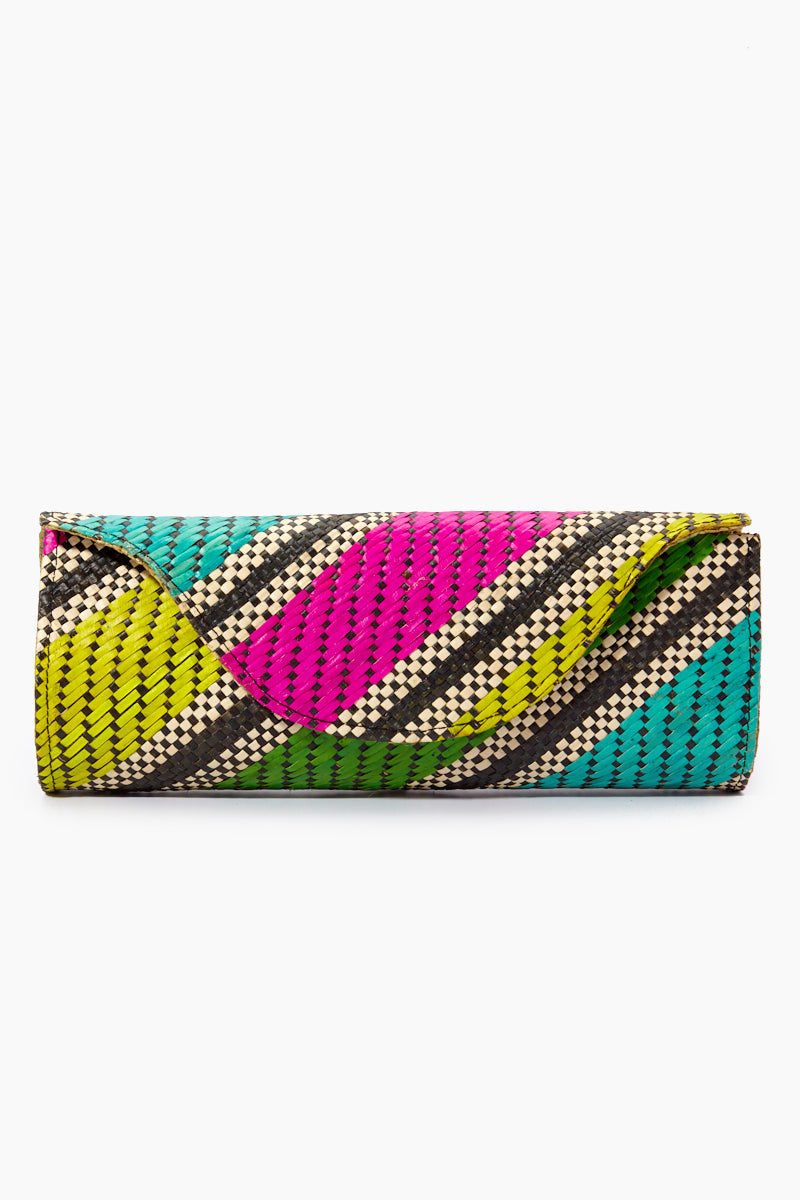 BANAGO Mayumi Clutch - Labra Fiesta Bag | | Banago Mayumi Clutch - Labra Fiesta Front View Palm Leaf Clutch Embroidered Pattern  Magnetic Closure Unlined Made in the Philippines  90% Wild Grass, 10% Palm Leaf
