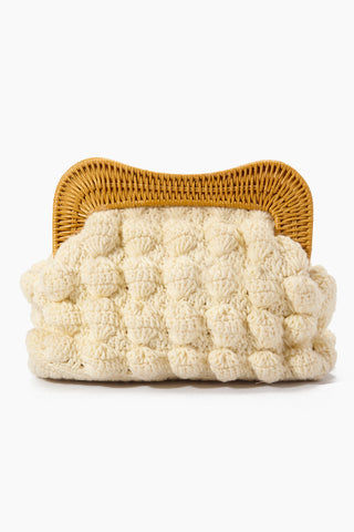 "KAYU Hurricane Yarn Clutch - White Bag | | Kayu Hurricane Yarn Clutch - White Front View Crochet Yarn Clutch  Magnetic Clasp  Drop-in Chain Strap  Handcrafted  Measurement: 10.25"" W x 7.25"" H x 3"" D"