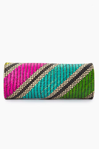BANAGO Mayumi Clutch - Labra Fiesta Bag | | Banago Mayumi Clutch - Labra Fiesta Back View Palm Leaf Clutch Embroidered Pattern  Magnetic Closure Unlined Made in the Philippines  90% Wild Grass, 10% Palm Leaf