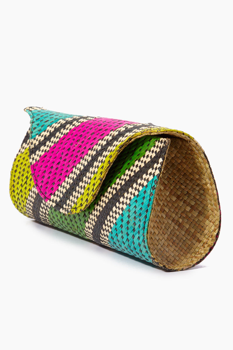 BANAGO Mayumi Clutch - Labra Fiesta Bag     Banago Mayumi Clutch - Labra Fiesta Side View Palm Leaf Clutch Embroidered Pattern  Magnetic Closure Unlined Made in the Philippines  90% Wild Grass, 10% Palm Leaf