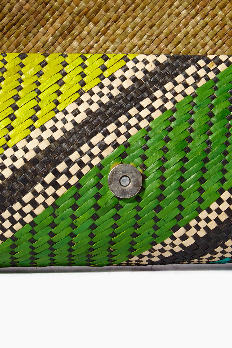 BANAGO Mayumi Clutch - Labra Fiesta Bag | | Banago Mayumi Clutch - Labra Fiesta Close Up View Palm Leaf Clutch Embroidered Pattern  Magnetic Closure Unlined Made in the Philippines  90% Wild Grass, 10% Palm Leaf