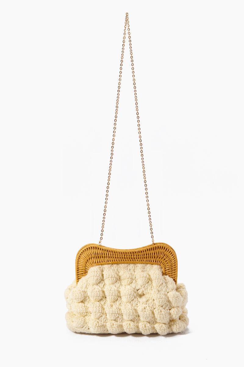 "KAYU Hurricane Yarn Clutch - White Bag | | Kayu Hurricane Yarn Clutch - White With Drop Chain View Crochet Yarn Clutch  Magnetic Clasp  Drop-in Chain Strap  Handcrafted  Measurement: 10.25"" W x 7.25"" H x 3"" D"