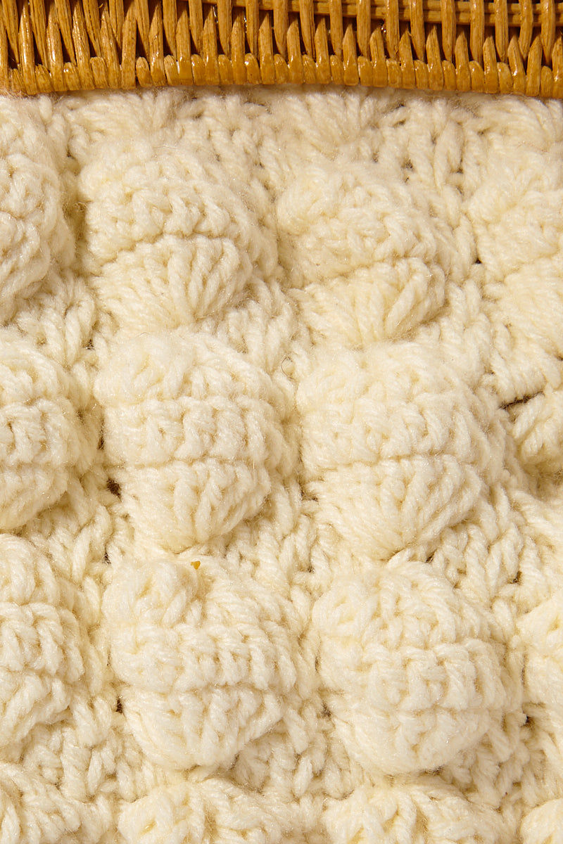 "KAYU Hurricane Yarn Clutch - White Bag | | Kayu Hurricane Yarn Clutch - White Close Up View Crochet Yarn Clutch  Magnetic Clasp  Drop-in Chain Strap  Handcrafted  Measurement: 10.25"" W x 7.25"" H x 3"" D"
