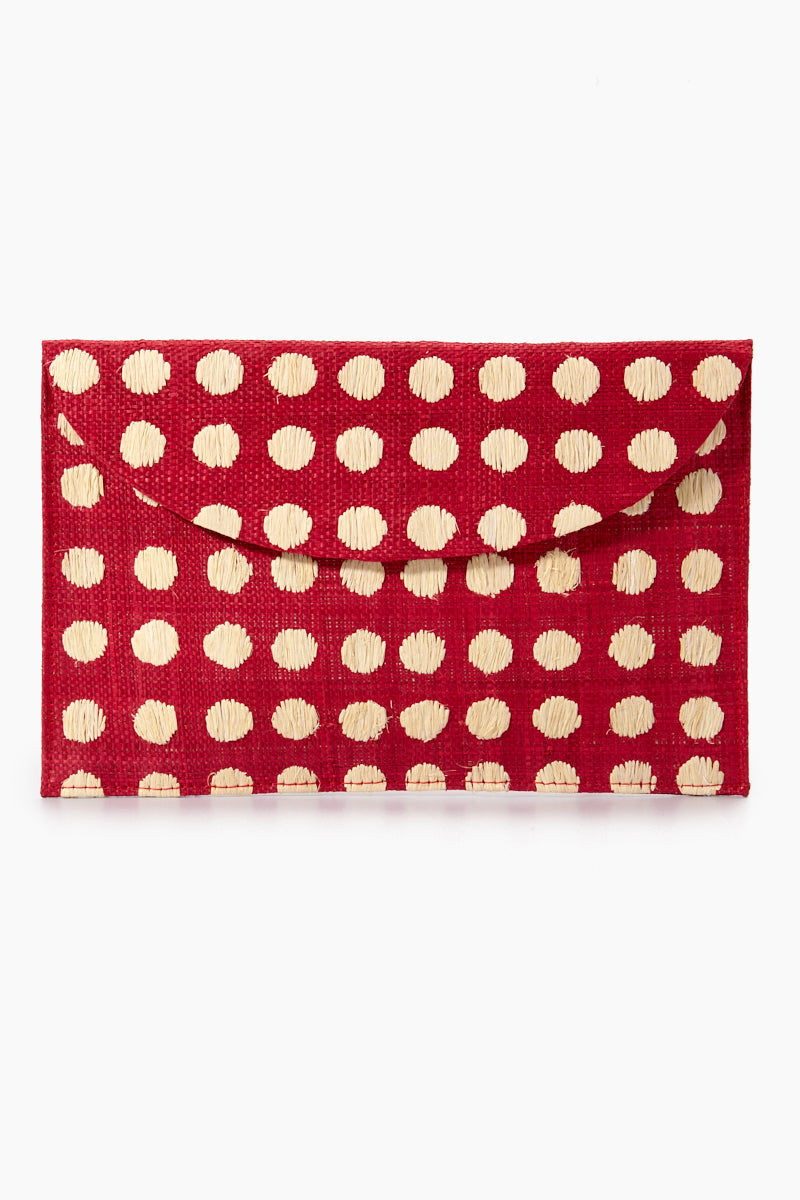 "KAYU Tulum Polka Dot Clutch - Red/White Polka Dots Bag | | Kayu Tulum Polka Dot Clutch - Red / White Polka Dots Front View Natural straw clutch  Hand embroidered polka dot detail  Drop in chain straps  Easily fits largest size cellphone Handcrafted Measurements: 11""w x 7""h"