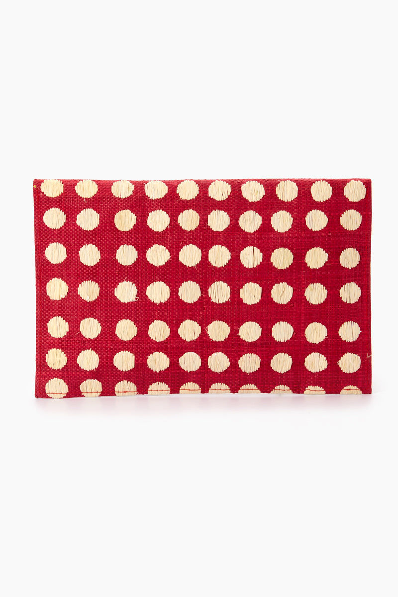 "KAYU Tulum Polka Dot Clutch - Red/White Polka Dots Bag | | Kayu Tulum Polka Dot Clutch - Red / White Polka Dots Back View Natural straw clutch  Hand embroidered polka dot detail  Drop in chain straps  Easily fits largest size cellphone Handcrafted Measurements: 11""w x 7""h"