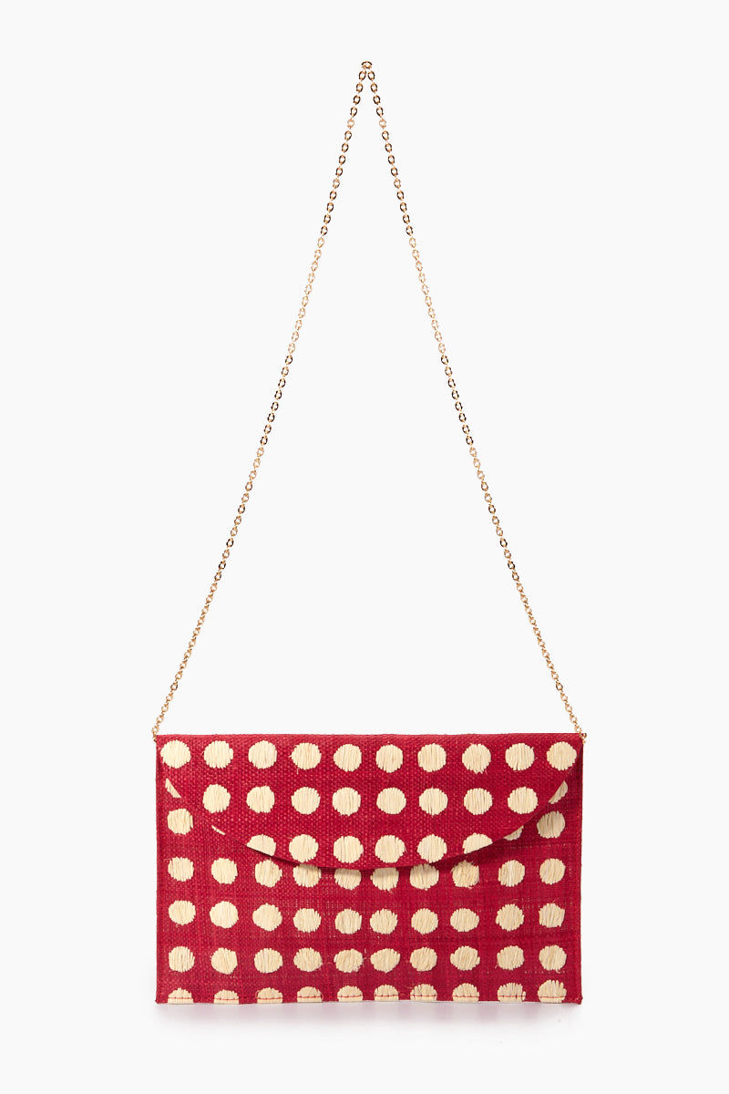 "KAYU Tulum Polka Dot Clutch - Red/White Polka Dots Bag | | Kayu Tulum Polka Dot Clutch - Red / White Polka Dots Drop Chain  View Natural straw clutch  Hand embroidered polka dot detail  Drop in chain straps  Easily fits largest size cellphone Handcrafted Measurements: 11""w x 7""h"