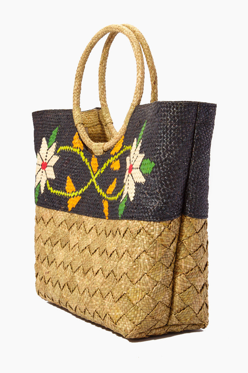 BANAGO Olivia Talunay Bottom Tote - Natural & Black Flowers Bag | | Banago Olivia Talunay Bottom Tote - Natural & Black Flowers Large Tote Double Ring Handles  Open Top  Woven Floral Design  Hand woven Made in the Philippines 90% wild grass, 10% palm leaf, 100% polyester lining