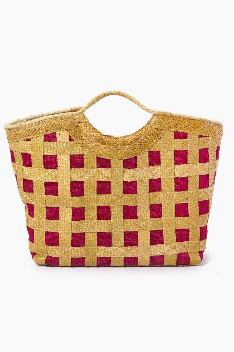 BANAGO Liliana Large Tote - Talunay Diagonal Weave Fuchsia Bag | Liliana Large Tote - Talunay Diagonal Weave Fuchsia. Features:   Large Straw Tote Double Handles Cross Weave Pattern Zipper Closure  Made in the Philippines