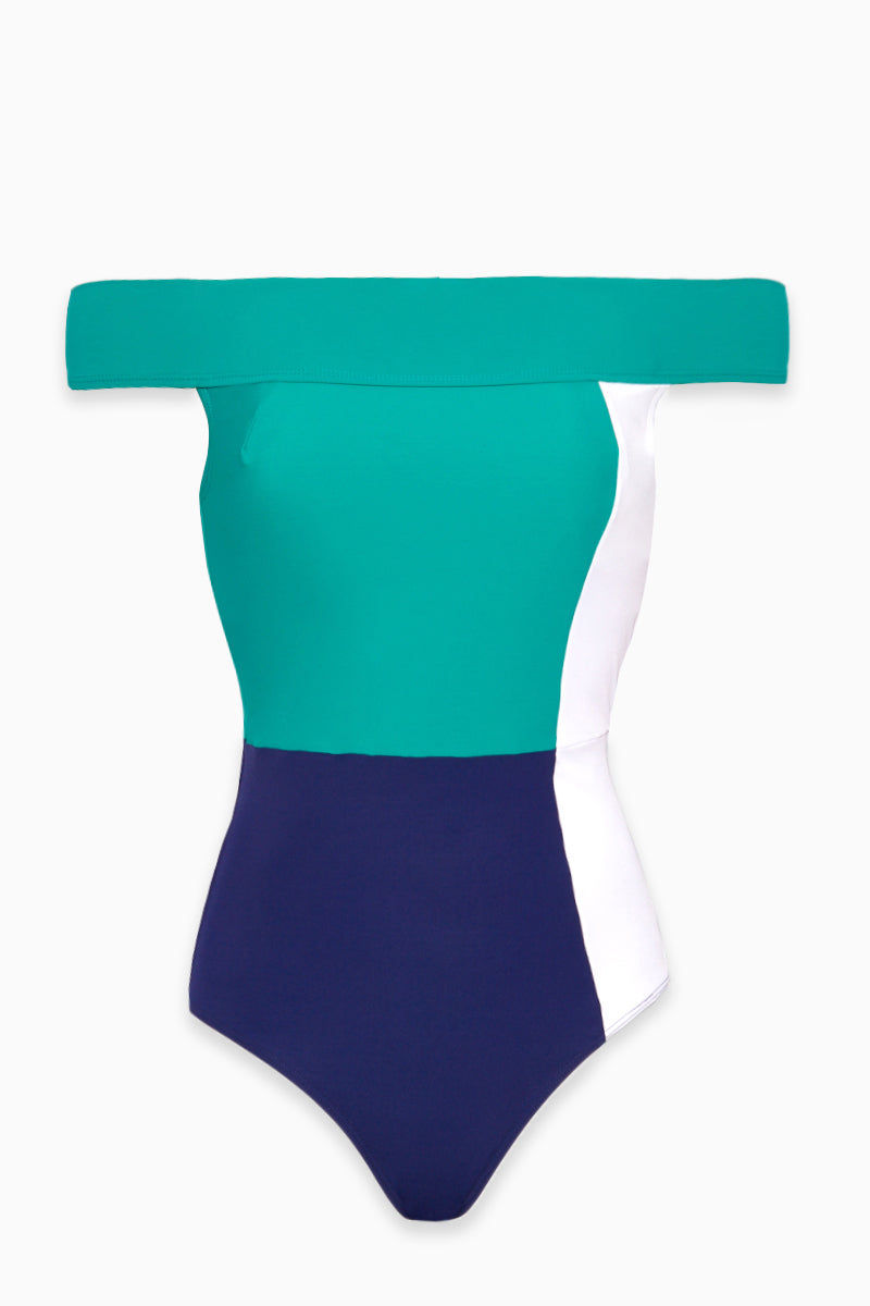 FLAGPOLE The Gia One Piece - Navy/White/Sea Green One Piece | Navy/White/Sea Green| Flagpole The Gia One Piece - Navy/White/Sea Green Flatlay View  Off the Shoulder One Piece  Built in Shelf Bra  Pull On Fit High Cut Leg Full Coverage  Colorblocked 72% polyamide, 28% elastane  Made from an Italian four-way stretch material that is anti-pill, anti-bacterial, chlorine resistant and quick-drying, it's perfect for being active in and out of the water. Proudly made in NYC