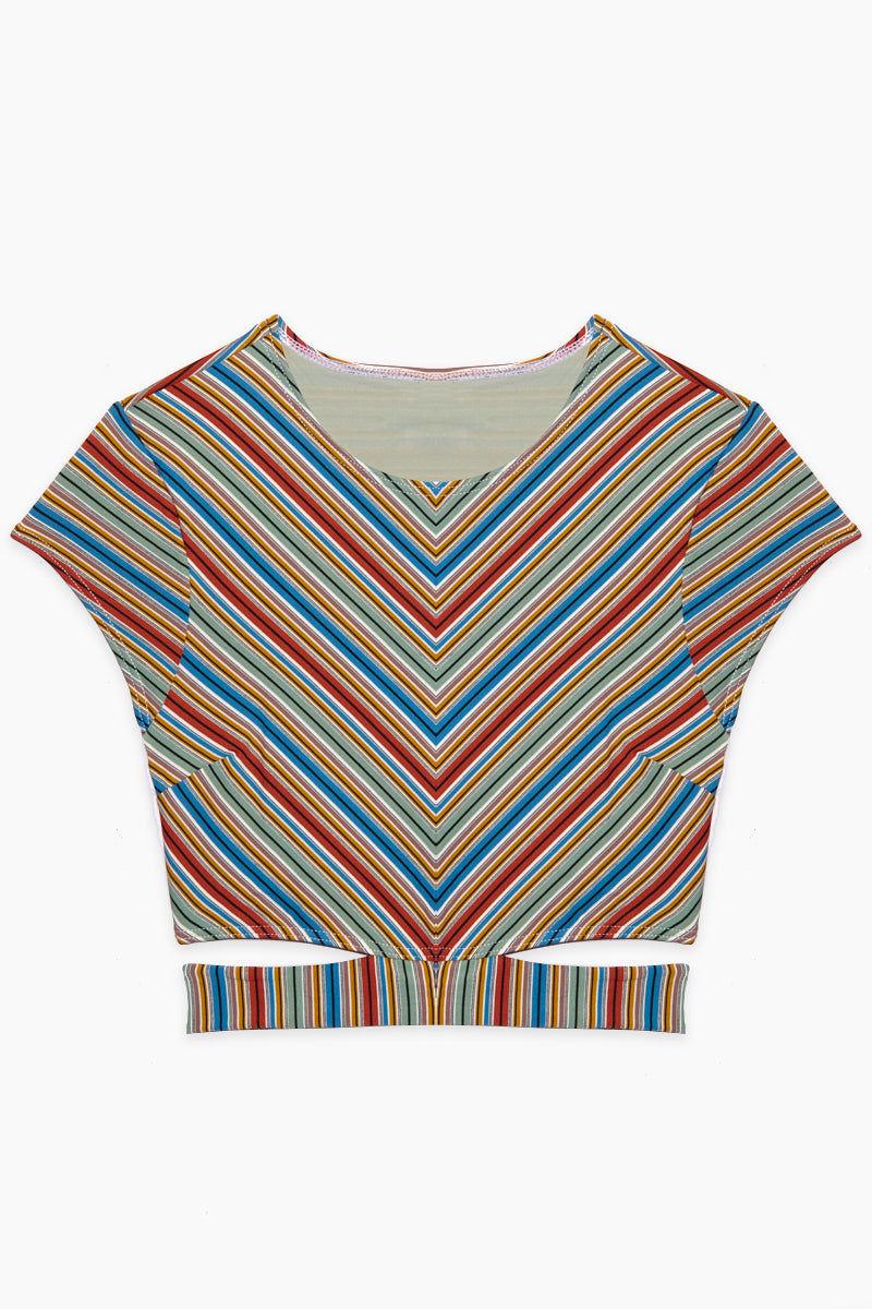 RVCA Sixteenth St Crop Top - Multi Bikini Top | Multi|Sixteenth St Crop Top - Features:  Crew neck swim crop top  Cap sleeves Multi-color striped print Unlined