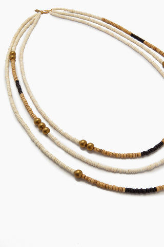 INK + ALLOY Long Triple Strand Natural Coconut Necklace - White & Black Jewelry | Long Triple Strand Natural Coconut Necklace - White & Black