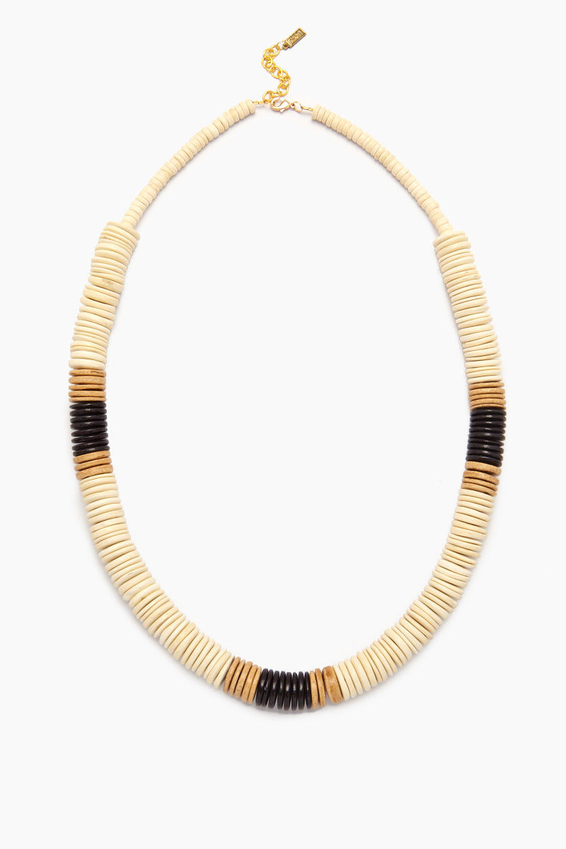 INK + ALLOY White Bold Coconut Pucalet Long Necklace with Natural and Black Accents Jewelry | White Bold Coconut Pucalet with Natural and Black Accents