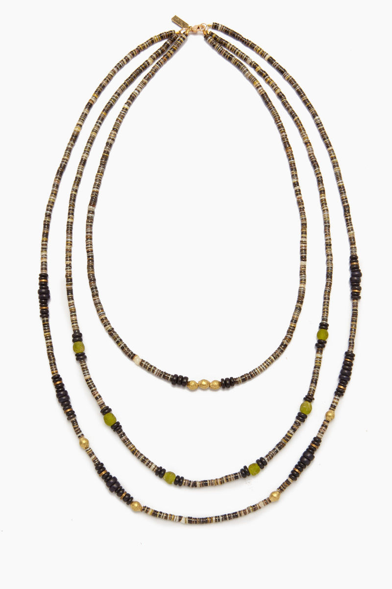 INK + ALLOY Shell Necklace - Blackshell, Brass & Glass Triple Strand Jewelry | Shell Necklace - Blackshell, Brass & Glass Triple Strand