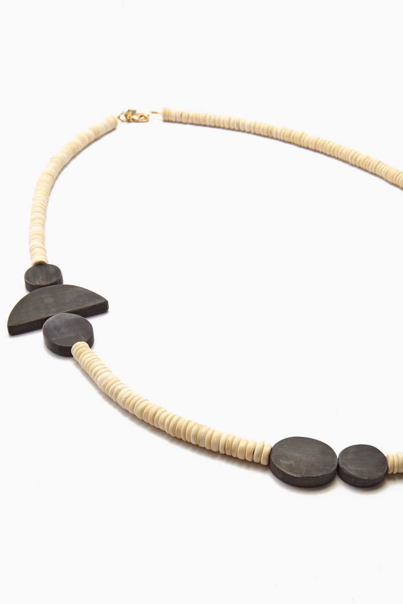 INK + ALLOY Black Horn Geometric Necklace - White Coconut Jewelry | Black Horn Geometric Necklace - White Coconut