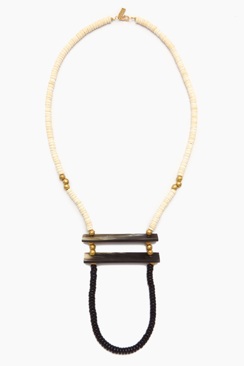 INK + ALLOY Wood Horn Crossbar & Brass Necklace - White & Black Wood Jewelry | Wood Horn Crossbar & Brass Necklace - White & Black Wood