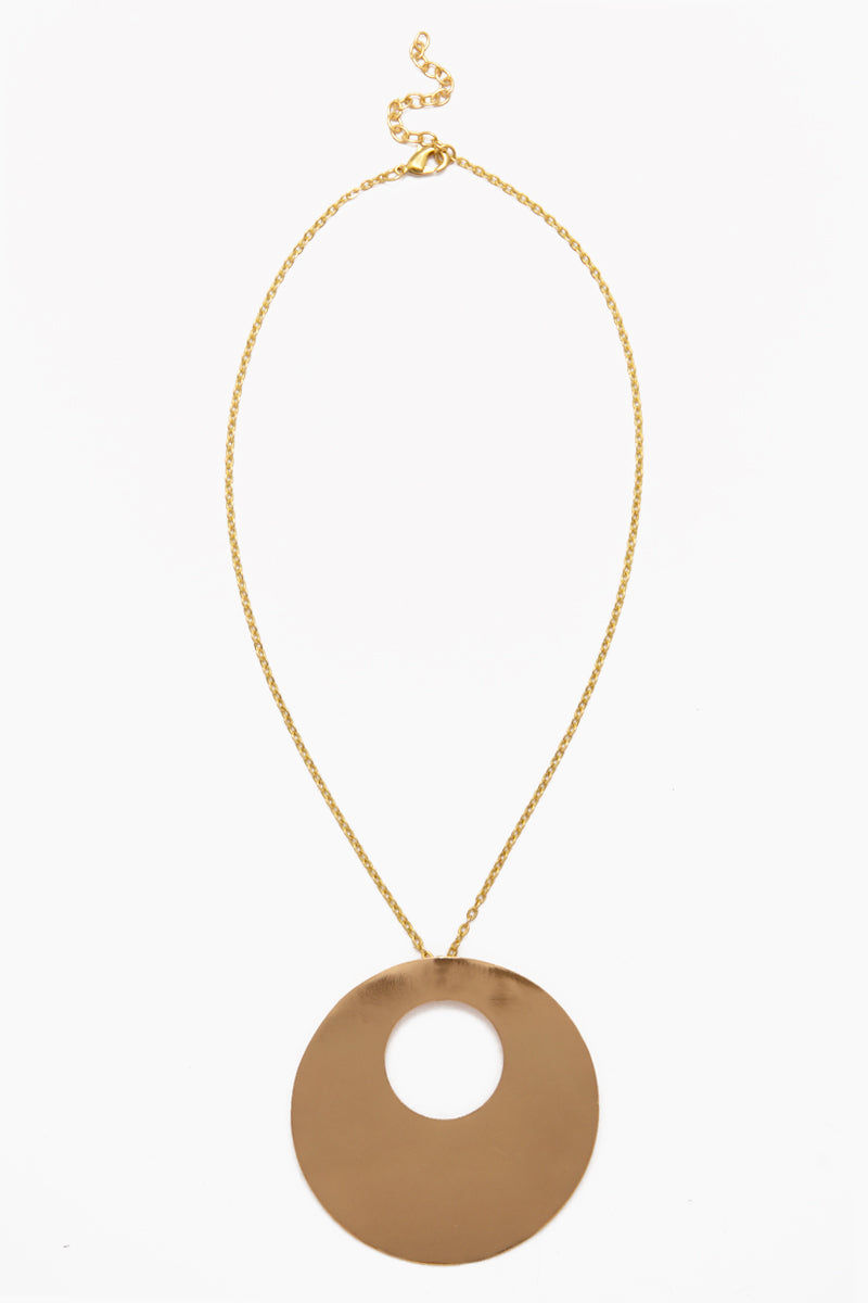 INK + ALLOY Circle Within Circle Pendant Necklace - Brass Jewelry | Circle Within Circle Pendant Necklace - Brass
