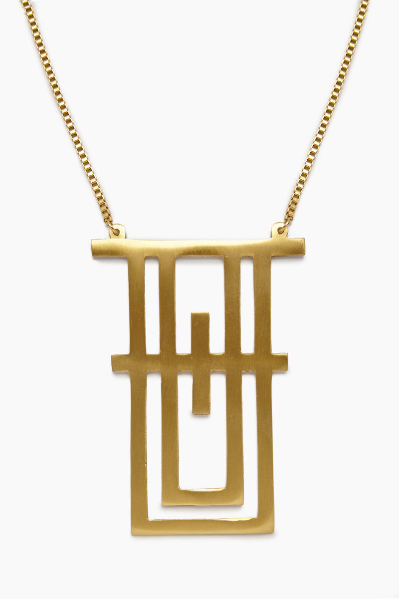 INK + ALLOY Geometric Tower Necklace - Brass Jewelry | Geometric Tower Necklace - Brass