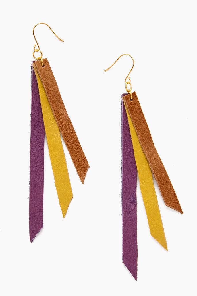 INK + ALLOY Leather Triple Strip Earrings - Lilac, Chartreuse & Cognac Jewelry | Leather Triple Strip Earrings - Lilac, Chartreuse & Cognac