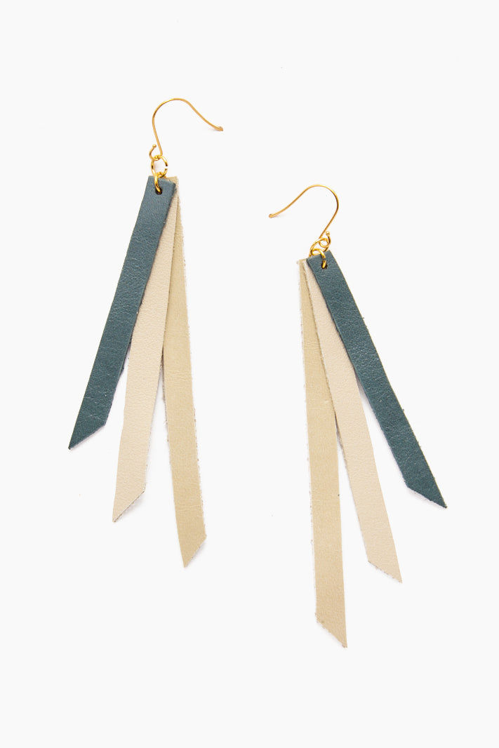INK + ALLOY Leather Triple Strip Earrings - Teal, Citrine & Cream Jewelry | Leather Triple Strip Earrings - Teal, Citrine & Cream