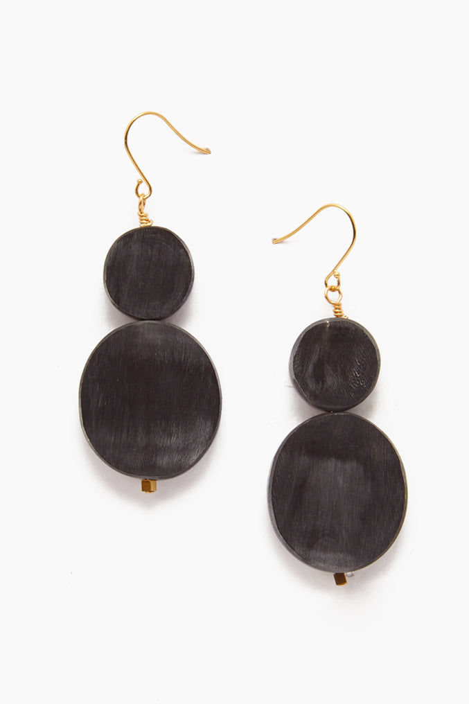 INK + ALLOY Black Horn Stacked Oval Earrings Drop - Black Jewelry | Black Horn Stacked Oval Earrings Drop - Black