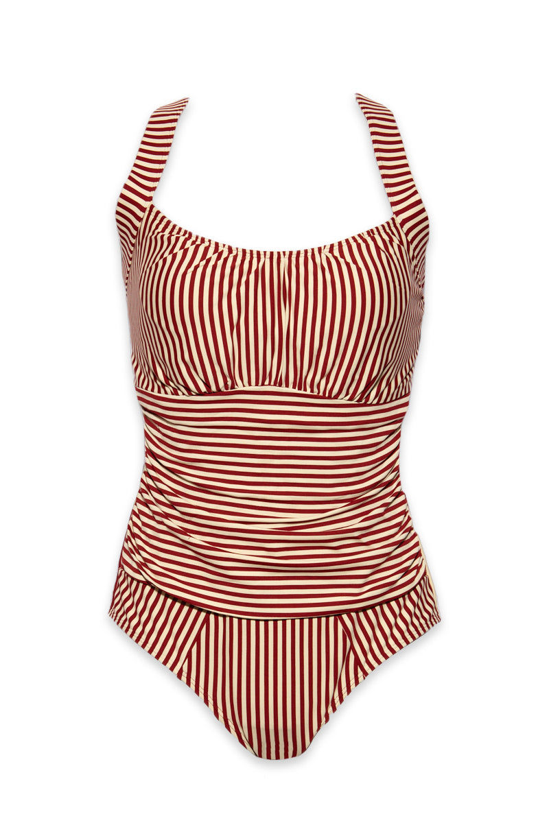 MARLIES DEKKERS Holi Vintage Unwired Padded One Piece Swimsuit (Curves) - Red Ecru One Piece | Holi Vintage Unwired Padded One Piece Swimsuit (Curves) - Red Ecru
