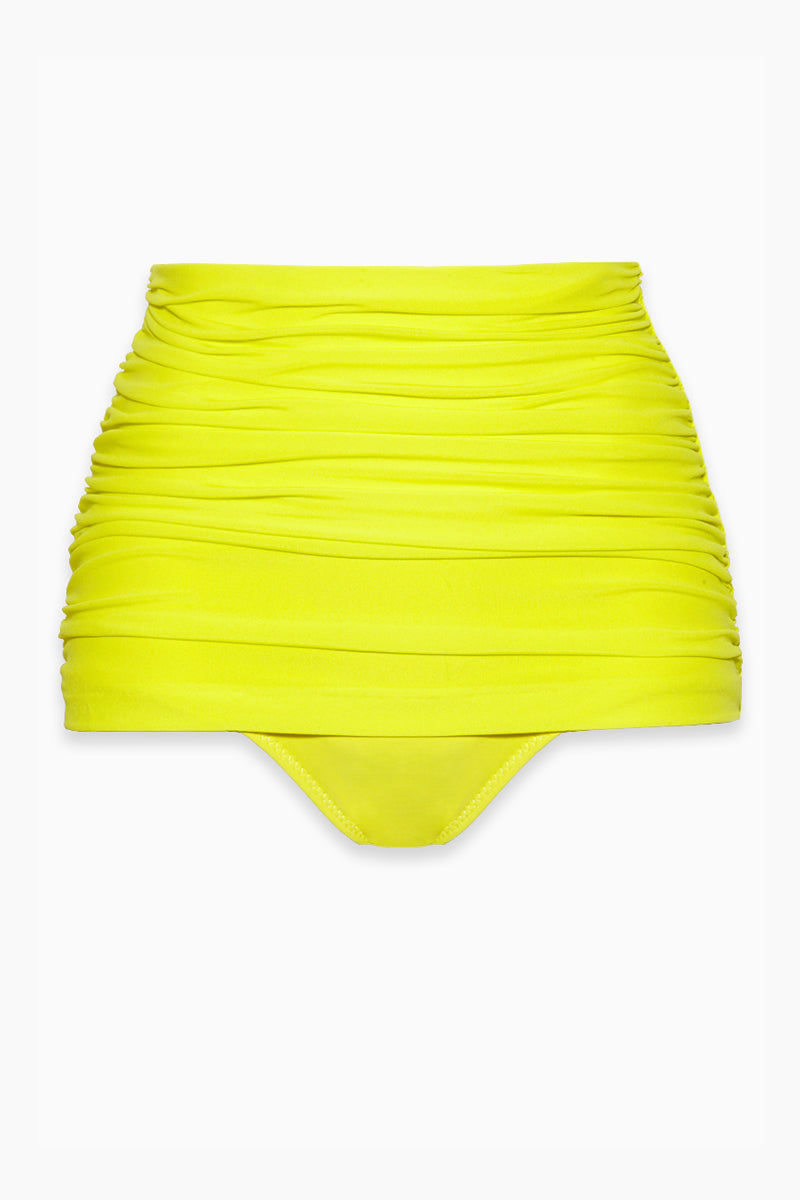 NORMA KAMALI Bill High Waist Bikini Bottom - Acid Bikini Bottom | Acid|Bill High Waist Bikini Bottom - Features:  High waist Bikini brief Shirred sides Double layer Low cut leg Full coverage Great for curves Wrinkle free Fully lined