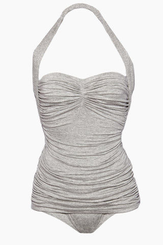 NORMA KAMALI Bill Mio One Piece Swimsuit - Light Grey One Piece | Light Grey| Norma Kamali Bill Mio One Piece Swimsuit - Features:  Halter strap one piece  Sweetheart neckline Great for curves Shirred sides High cut leg Full bottom coverage Wrinkle free