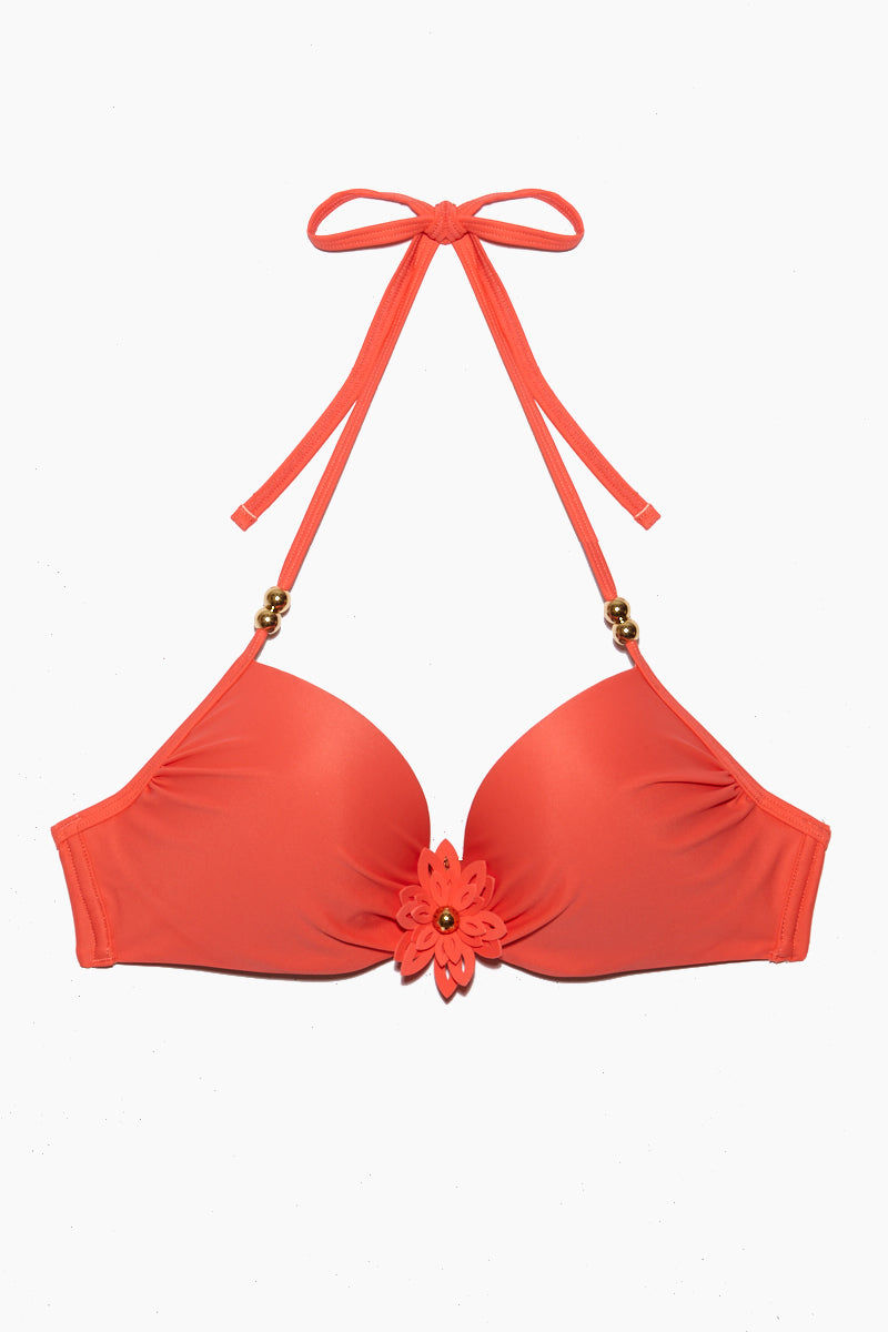 MARLIES DEKKERS La Flor Wired Padded Push Up Bikini Top - Salmon Bikini Top | Salmon| Marlies Dekkers La Flor Wired Padded Push Up Bikini Top - Salmon. Flat Lay View. Features:  Underwired push up bikini top Adjustable halter neck  Sculpted flower with petals and fold-colored heart at the center Halter straps with glossy beads Claps back Sea-green shade