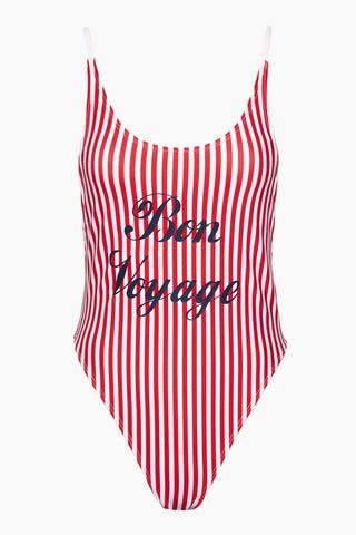"PRIVATE PARTY Bon Voyage One Piece Swimsuit- Red One Piece |  Red|Bon Voyage One Piece Swimsuit Features - Fire truck red and white striped scoop neck tank style high cut one piece swimsuit with ""Bon Voyage"" script lettering across the front"