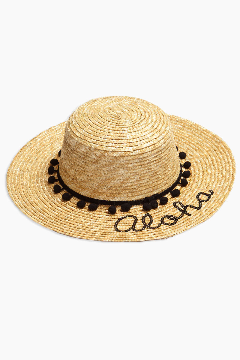 DAVID & YOUNG Pom Band Aloha Slogan Straw Boater Hat Hat | | David & Young Pom Band Aloha Slogan Straw Boater Hat side view