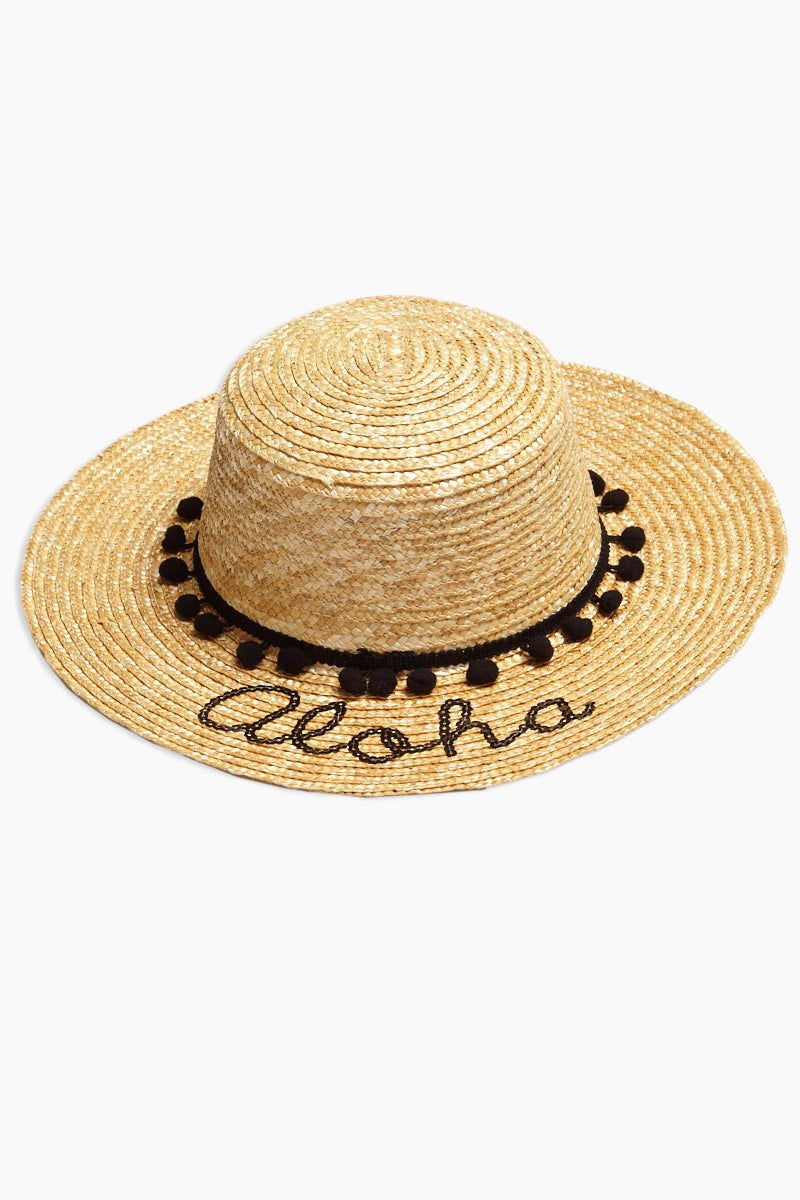 DAVID & YOUNG Pom Band Aloha Slogan Straw Boater Hat Hat | | David & Young Pom Band Aloha Slogan Straw Boater Hat front view