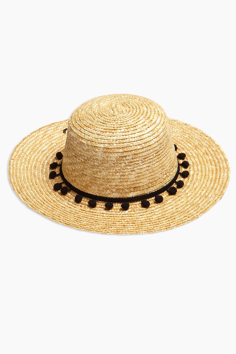 DAVID & YOUNG Pom Band Aloha Slogan Straw Boater Hat Hat | | David & Young Pom Band Aloha Slogan Straw Boater Hat back view