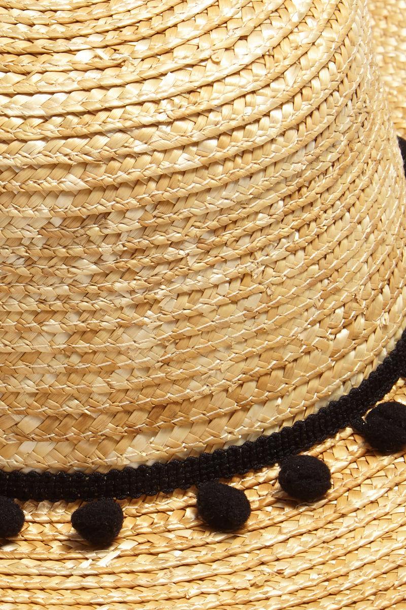 DAVID & YOUNG Pom Band Aloha Slogan Straw Boater Hat Hat | | David & Young Pom Band Aloha Slogan Straw Boater Hat close up pom pom tassel hat band
