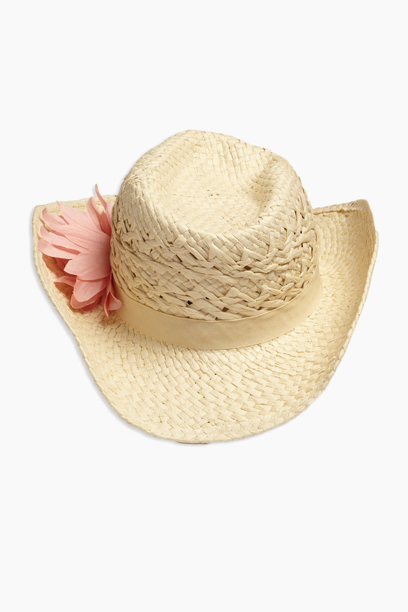 DAVID & YOUNG Straw Cowboy Hat With Flower - Sand Hat | | David & Young Straw Cowboy Hat With Flower - Sand front view curled brim