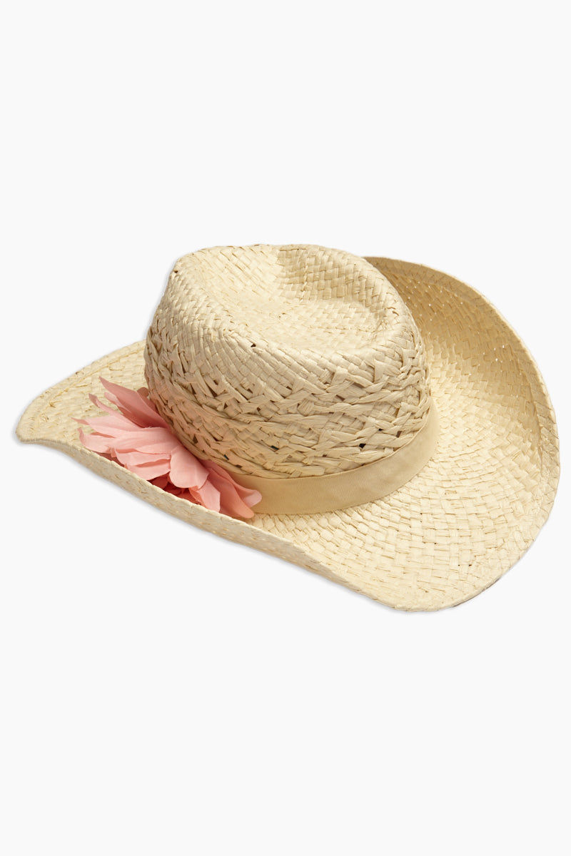 DAVID & YOUNG Straw Cowboy Hat With Flower - Sand Hat | | David & Young Straw Cowboy Hat With Flower - Sand side view curled brim