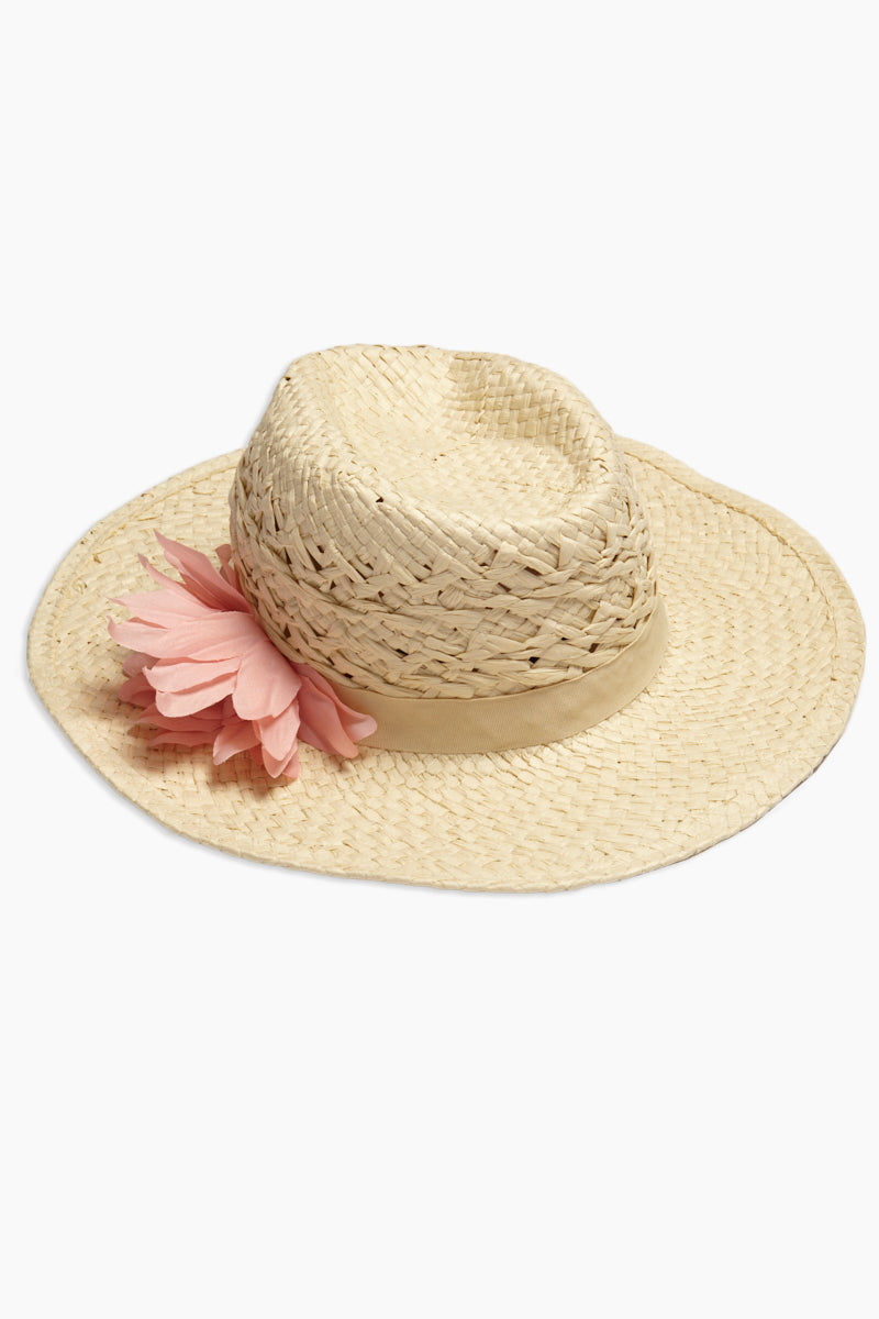 DAVID & YOUNG Straw Cowboy Hat With Flower - Sand Hat | | David & Young Straw Cowboy Hat With Flower - Sand side view