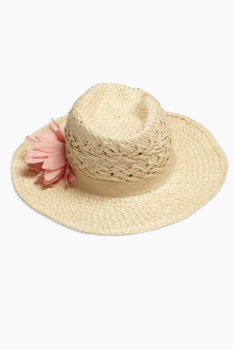DAVID & YOUNG Straw Cowboy Hat With Flower - Sand Hat | | David & Young Straw Cowboy Hat With Flower - Sand front view