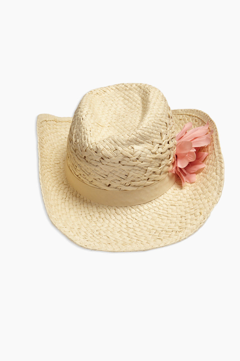 DAVID & YOUNG Straw Cowboy Hat With Flower - Sand Hat | | David & Young Straw Cowboy Hat With Flower - Sand back view curled brim