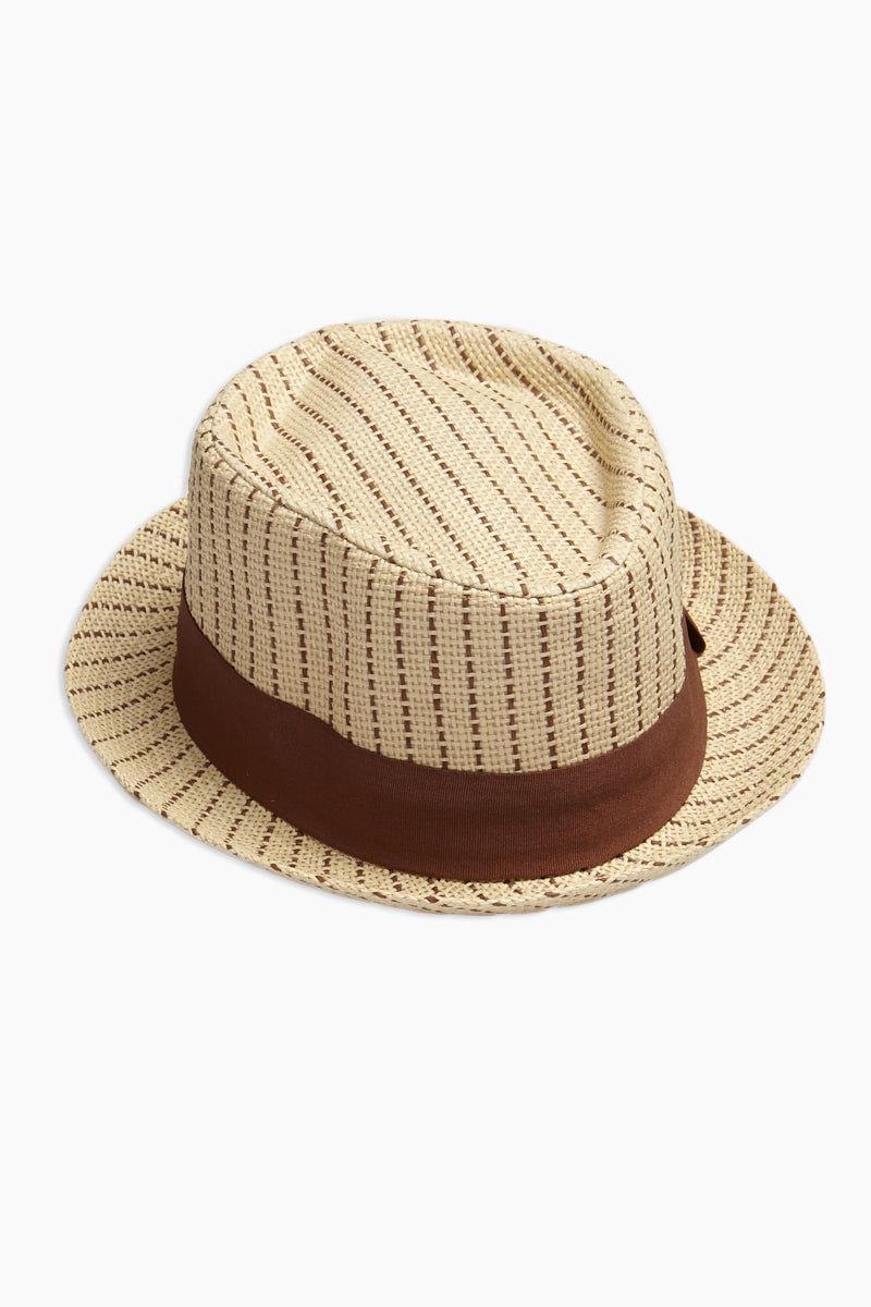 DAVID & YOUNG Dashed Stripe Fedora - Brown Hat | | David & Young Dashed Brown Stripe Fedora side view
