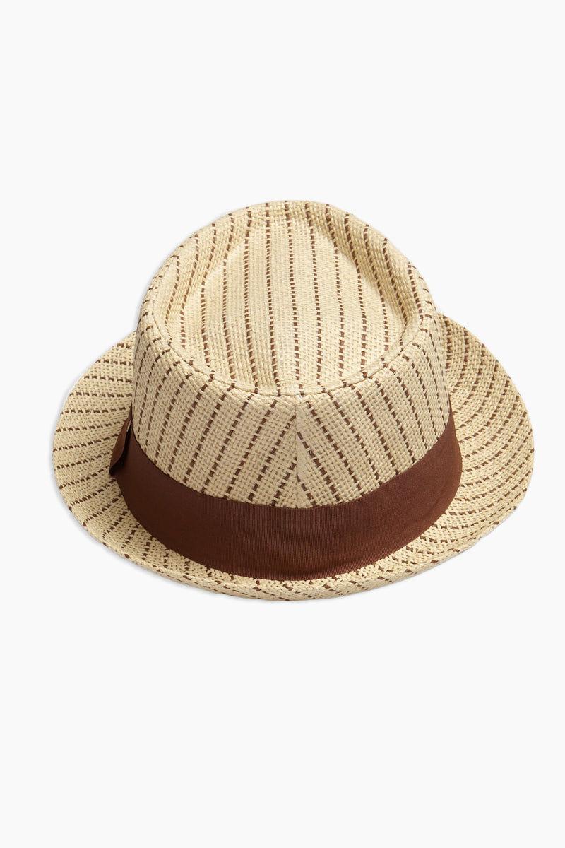 DAVID & YOUNG Dashed Stripe Fedora - Brown Hat | | David & Young Dashed Brown Stripe Fedora back view