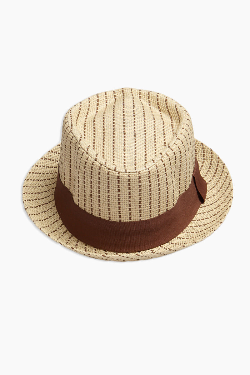 DAVID & YOUNG Dashed Stripe Fedora - Brown Hat | | David & Young Dashed Brown Stripe Fedora front view