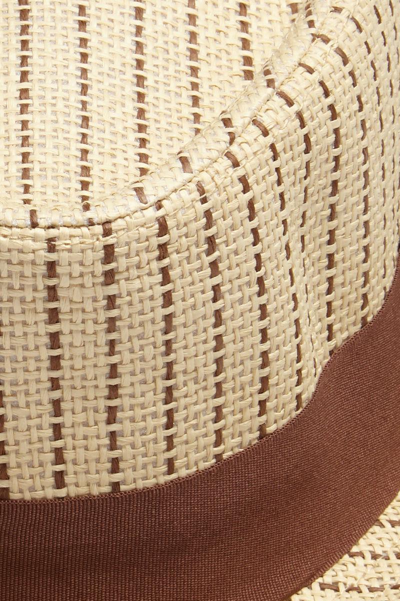 DAVID & YOUNG Dashed Stripe Fedora - Brown Hat | | David & Young Dashed Brown Stripe Fedora close up wide flat brown hat band