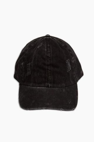 DAVID & YOUNG Washed Out Retro Baseball Cap - Black Hat | | David & Young Washed Out Retro Baseball Cap - Black front view