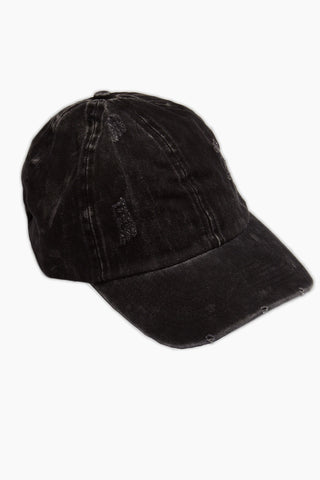 DAVID & YOUNG Washed Out Retro Baseball Cap - Black Hat | | David & Young Washed Out Retro Baseball Cap - Black side view